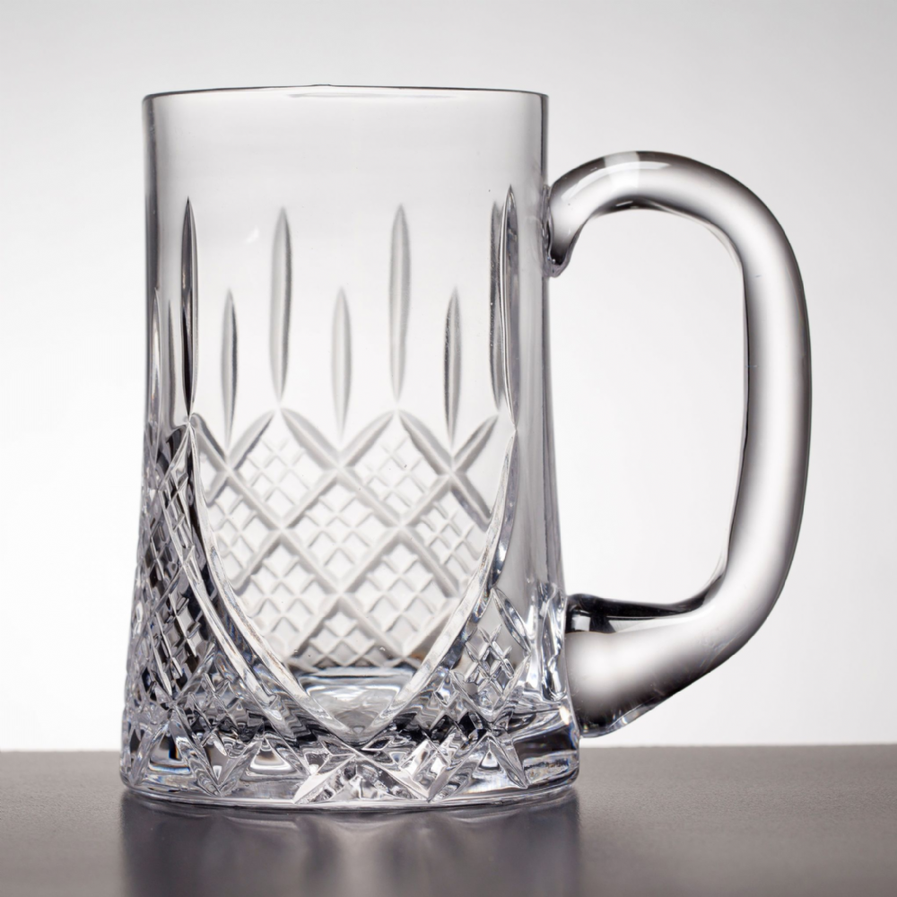 Engraved Cut Crystal Pint Tankard